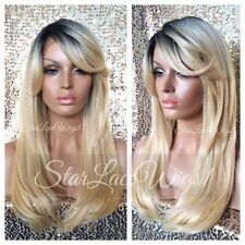 Human Hair Blend Straight Blonde Mixed Dark Roots Bangs Lace Front Wig Heat Safe