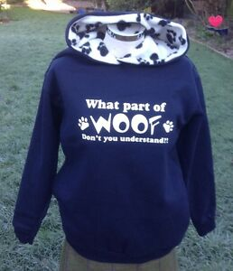 Activewear Conscientious What Part Of Woof Don't You Understand Hoodies Sweatshirt Navy/paw Print Fine Craftsmanship Clothing & Shoes