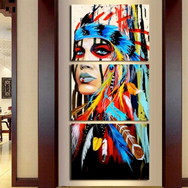 Native American Girl Feathered Modern Wall Decor Canvas Picture Art ...