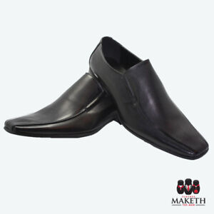 New-Maketh-Mens-Formal-Dress-Shoe-Pull-On-Leather-Lined-Black-Pitted