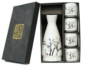 Japanese-Bamboo-Design-Porcelain-Sake-Set-1-Bottle-and-4-Cups-in-Gift-Box