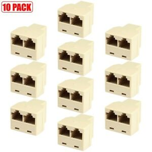 5x RJ12 6P4C Telephone//Phone Line 1 Male to 2 Female Modular  Adapter Ivory
