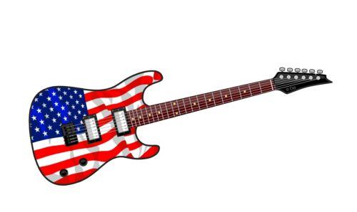 Electric GUITAR Motif /& American US USA Flag vinyl Car Case Amp sticker decal