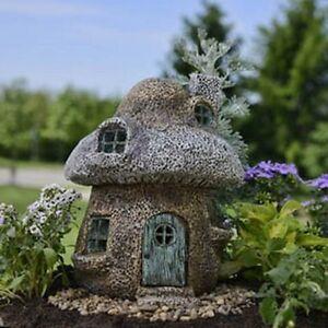 Miniature dollhouse fairy garden rustic mushroom house new for Amazon uk fairy doors