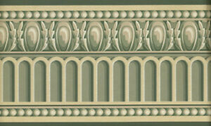 Details about VICTORIAN ARCHITECTURAL GREEN AND CREAM MOULDING TRIM  WALLPAPER BORDER