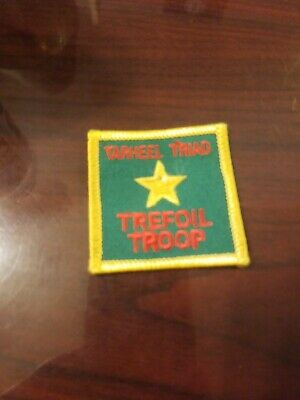 1960-62 ONLY Intermediate Girl Scout NEW Badge MY TROOP Patch Trefoil+RED Stone