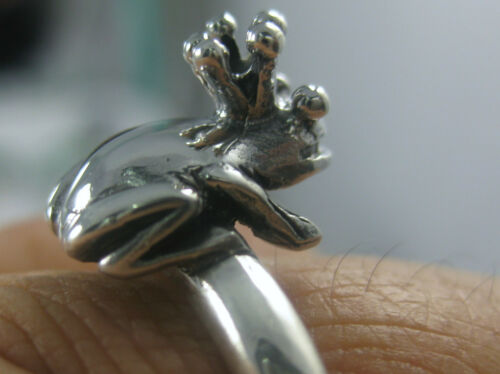 Mother/'s Day 100/% Real 925 Sterling Silver Oxidised Heavy Prince Frog Ring