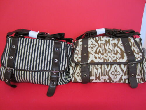 GO Amelie Ladies  Canvas Shoulder Handbag Beige Pattern or Stripe