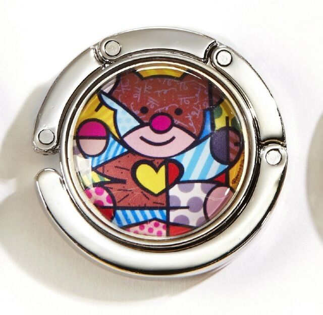 ROMERO BRITTO GLASS PURSE HOOK /& POUCH TEDDY BEAR  DESIGN   ** NEW **
