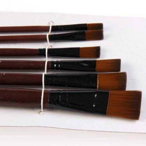 6Pcs Nylon Acrylic Oil Paint Gouache Brushes For Artist Supplies Watercolor Set