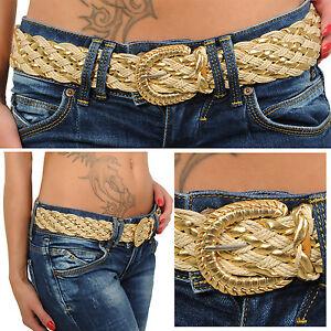 Sexy Cinturón Brillo Oro Trenzado Cintura Hot Nuevo de Mujer