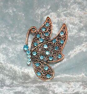 Blue-Crystal-Butterfly-Copper-Tone-Metal-Pin-Brooch-Tie-Back