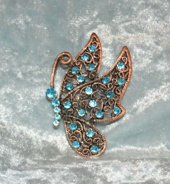 Blue Crystal Butterfly Copper Tone Metal Pin Brooch Tie Back