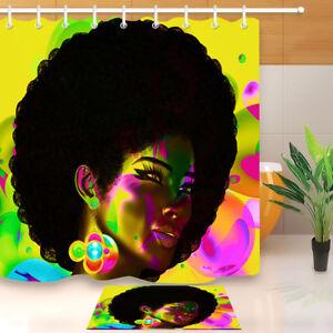 Color Makeup Afro African Women Model Shower Curtain Bathroom Waterproof Fabric
