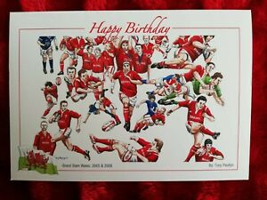 Rugby Union Grand Slam Wales 2005/8 - Birthday Card - Tony Paultyn