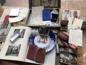Old Box WW2 Medals Service Paperwork Ephemera Personal Effects Huge Job Lot.