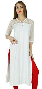 Bimba-Women-White-Rayon-Kurta-Kurti-Lace-Sleeves-Summer-Day-Tunic-Blouse