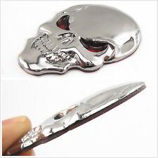 Car Metal Silver Chrome skull Logo Sticker Badge Car Fenders Tank Cover C-Pillar