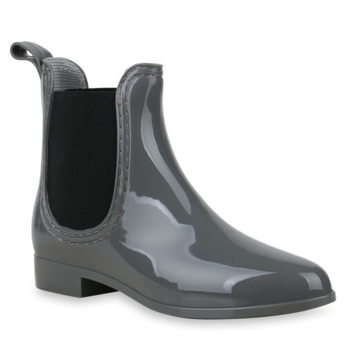 Damen Stiefeletten Gummistiefel Lack Regenstiefel Rain Boots 824253 Schuhe