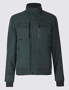 Men-039-s-M-amp-S-BLUE-HARBOUR-Dark-Green-Padded-Bomber-Jacket-Stormwear-Size-XXL