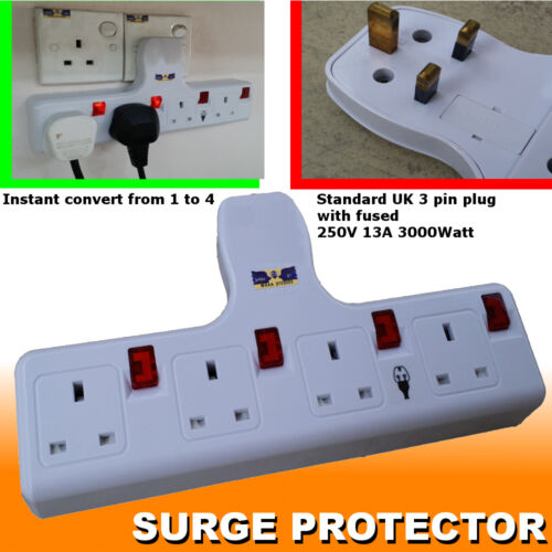 4way Multi Plug Socket Extension port outlet Convertor SURGE PROTECTOR 13A 250V