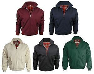 New-Mens-Classic-Harrington-Bomber-Jacket-Retro-Mod-Skin-Scooter-Navy-Wine-Black