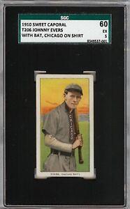 Rare-1909-11-T206-Johnny-Evers-Chicago-Shirt-HOF-Sweet-Caporal-350-SGC-60-5-EX