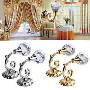 2x-Metal-Crystal-Curtain-Holdback-Wall-Tie-Backs-Hooks-Hanger-Holder-Home-Decors