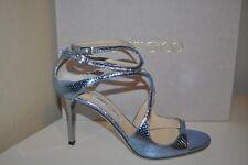 e00835738d7  1575 Jimmy Choo LANG Ivette Strappy Sandal High Heel Shoe Ice Blue  Metallic 9.5