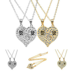 Crystal heart gold silver big lil sis best little sister pendant image is loading crystal heart gold silver big lil sis best mozeypictures Image collections