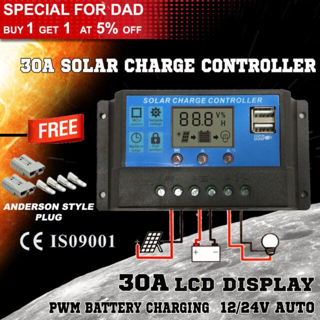 30A 12V-24V LCD Display PWM Solar Panel Regulator Charge Controller & Timer @ BX