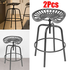 2Pcs-Tractor-Cast-Iron-Pub-Bar-Stool-Rustic-Chair-Classic-Vintage-Industrial