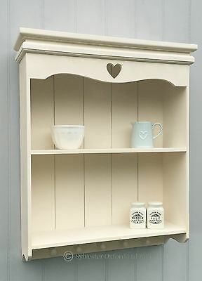 Pretty IVORY shabby / chic Carved heart shelf / Shelving unit WALL UNIT