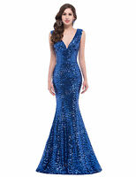 Mermaid V-Neck Sexy Long Wedding Sequins Prom Evening Formal Gown Party Dresses