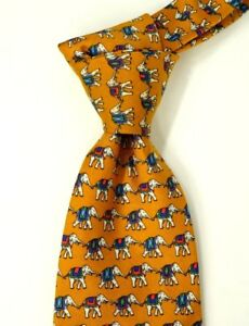 Brooks-Brothers-Classic-Orange-w-Elephant-Print-Silk-Neck-Tie-USA