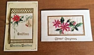 Embroidered-amp-Opening-Vintage-Christmas-Postcard-Lot-of-2-Small-Card-Poinsettia