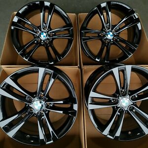 18 Bmw Oem Wheels Rims Gloss Black Factory Stagger Series 335i 328i 428i 330i Ebay