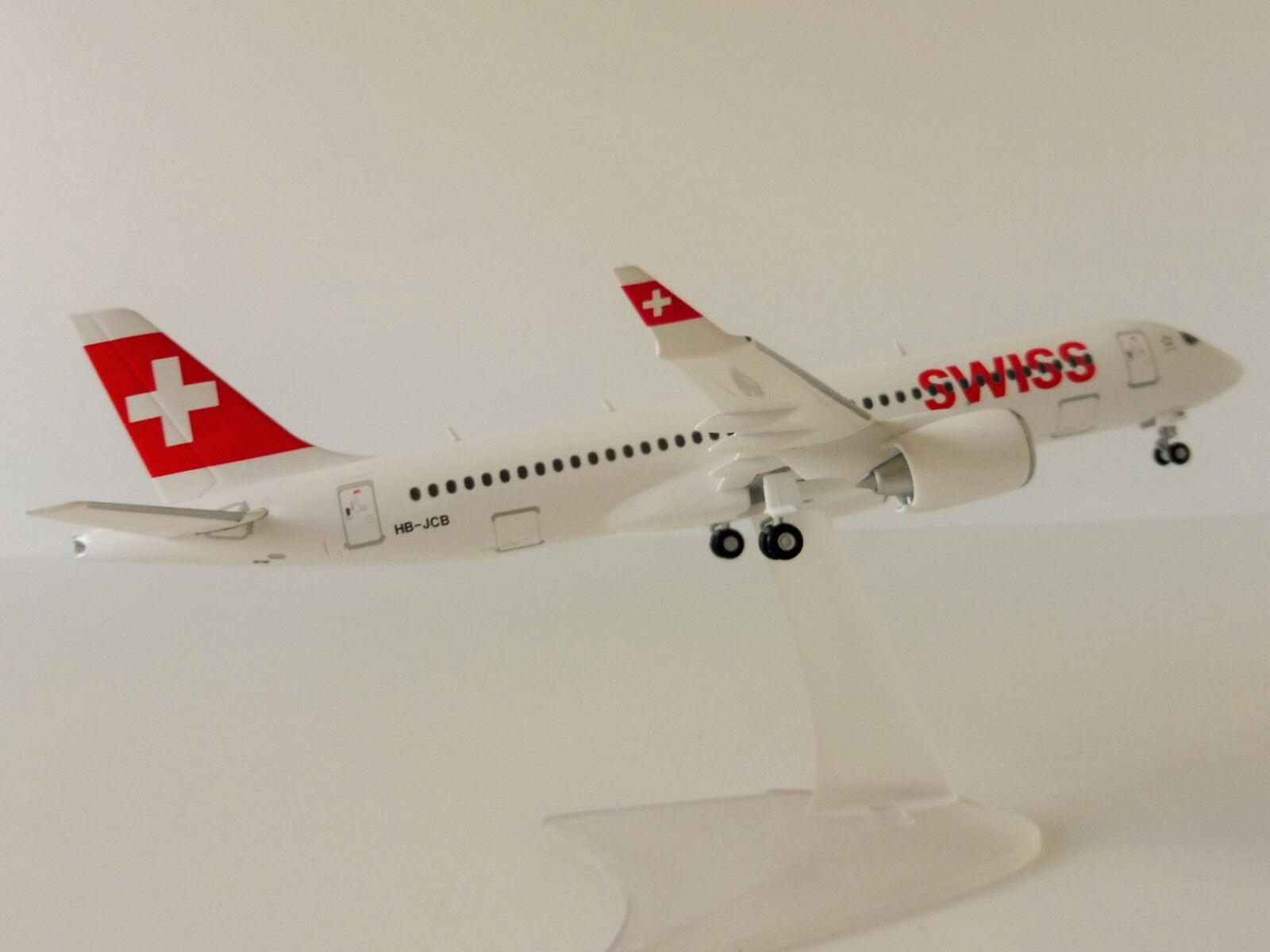Swiss Bombardier cs300 1 200 Herpa 558952 Zurich Airlines HB-JCB Swissair CS 300