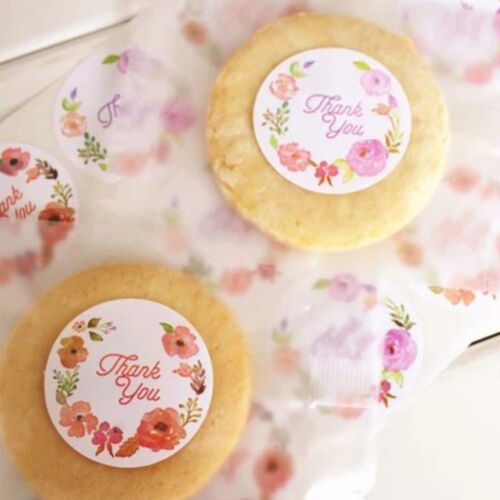 60//120Pcs Round Flower Thank you Label Sealing Adhesive Stickers DIY Craft Acc