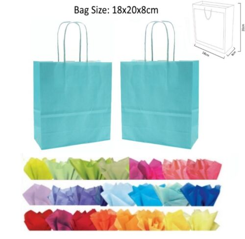 20x18x8cm Light Blue Paper Party Loot Bag Wedding Favour Gift Bags /& Tissue
