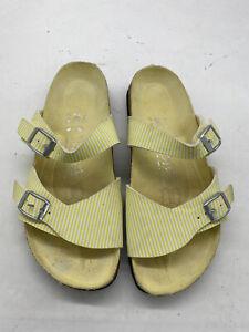 Birki's  Aziza Birko flor sandal yellow stripe women US sz 6 Made In Germany
