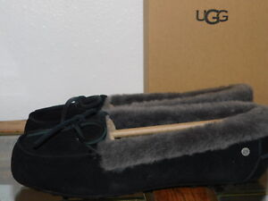 bd9e29a4492 Details about NEW NIB WOMENS SIZE 7 BLACK UGG 1020041 SOLANA SHEEPSKIN  SUEDE LOAFERS SLIPPERS