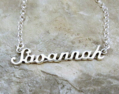17 Inches Long Sterling Silver Name Necklace Savannah 3//8 Inch