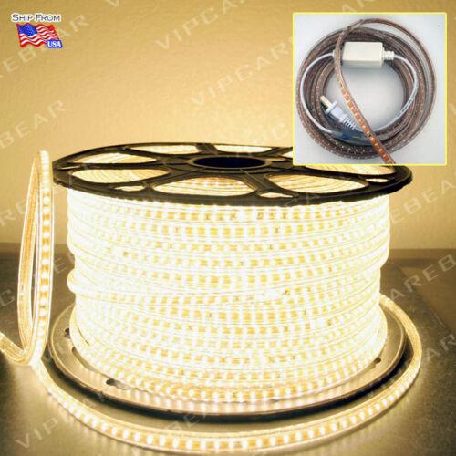 3ft-164ft 110V 3014 WARM WHITE SMD 120LED/M Strip Light IP68 Waterproof +AC Plug