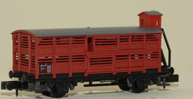 Arnold 4280 (0428) Güterwagen Viehwagen mit Bremserhaus neu OVP rotbraun