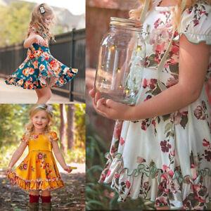 Toddler-Kids-Baby-Girl-Summer-Beach-Ruffles-Floral-Princess-Dress-Outfit-Clothes