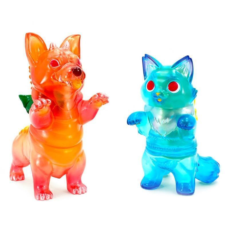 6 28 KONATSUYA CORGIDORA & FLUFFY NEGORA MAI TAI & blueE HAWAII SOFUBI ART TOY