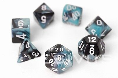 DICE Chessex Gemini BLACK/SHELL BLUE 7-Dice Set Marble d20 d10 RPG d6 26446