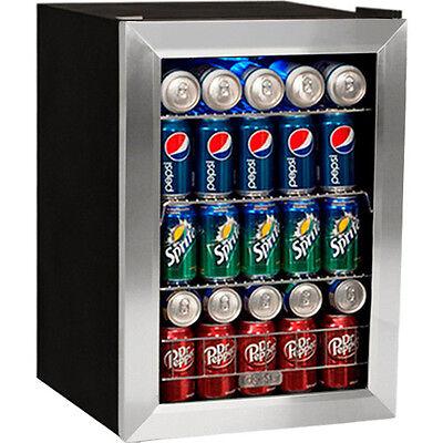 84 Can Glass Door Beverage Cooler Refrigerator Compact Drink Wine