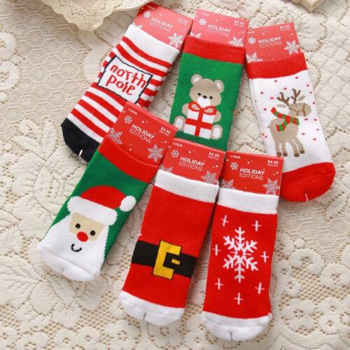 Xmas Baby Anti-slip Socks Boy Girl Cartoon Cotton NewBorn Infant Toddler Socks